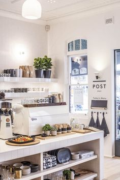 I LOVE the white coffee machine in the white bench, with white shelving. WHITE! SO clean and fresh and dreamy. Also love the plants for life- I'd probably want to have flowers.
