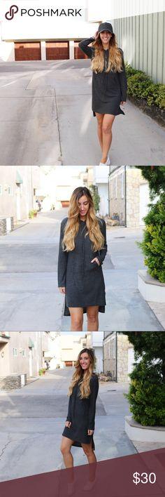 sweatshirt dress offers welcome charcoal sweatshirt dress with hood. model is wearing a size small. photos belong to XOmandysue.com. •5653679• Dresses Long Sleeve