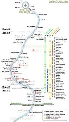 Chao Phraya River Express Boat Ferries transit network with major points of interest Bangkok top tourist attractions map
