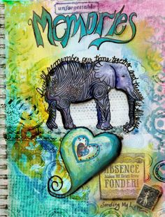A collage style demonstration art journal page for my The Big Start A.J. Workshop  Amanda Kuykendall