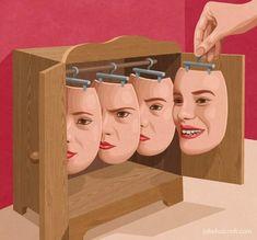Put on a happy face Art Print by John Holcroft Art And Illustration, Conceptual Art, Surreal Art, Pop Art, Art Visage, Satirical Illustrations, Satire, Face Art, Oeuvre D'art