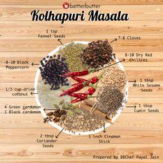Kolhapuri Masala recipe by payal jain at BetterButter Masala Powder Recipe, Masala Recipe, Homemade Spices, Homemade Seasonings, Veg Recipes, Indian Food Recipes, Vegetable Pulao Recipe, Masala Spice, Garam Masala