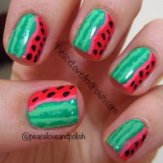watermelon by  peaceloveandpolish  #nail #nails #nailart
