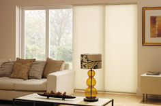 Panel glides are ideally suited to sliding and bi-fold doors and also double as a room divider. BLiNDS provide free, in-home advice. House Blinds, Blinds For Windows, Curtains With Blinds, Faux Wood Blinds, Bamboo Blinds, Sliding Door Treatment, Roman Blinds Design, Japanese Blinds, Discount Blinds