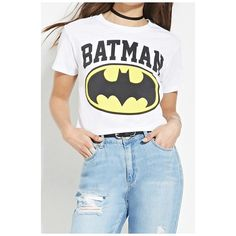 BATMAN Letter Printed Short Sleeve Round Neck Graphic Tee (115 RON) ❤ liked on Polyvore featuring tops, t-shirts, white graphic tees, graphic tees, white top, short sleeve t shirts and round neck top