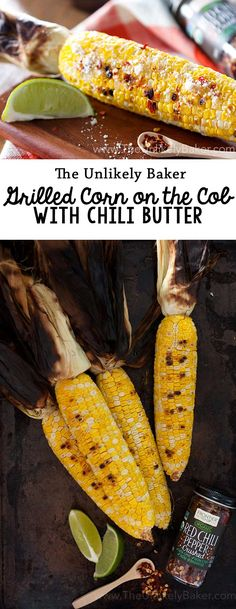 This grilled corn on the cob with chili butter is sweet, salty with a delightful kick at the end. You won't have grilled corn any other way again! #sponsored