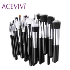 ACEVIVI 25PCS Makeup Foundation Brush Sets Wood Handle Cosmetic Blending Pencil Brush Eyeshadow Brush Cosmetic Tool Kits #Affiliate
