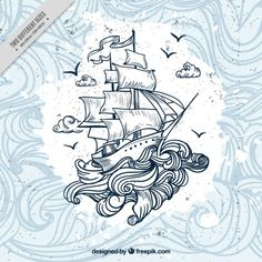 Risultati immagini per fondos japon varonil Wave Drawing, Boat Drawing, Ship Drawing, Tatouage Delta, Dessin Old School, Grafik Design, Arm Tattoo, Vector Free, Art Drawings