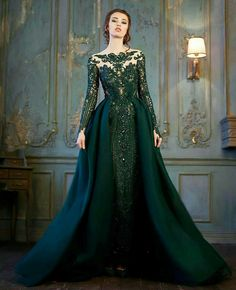 Delightful Evening Dress Long Sleeve On Sale At Reasonable Prices, Buy Emerald Evening  Dress Long Sleeve Lace Crystals Evening Gowns Prom O Neck Formal Couture  Vestido ...
