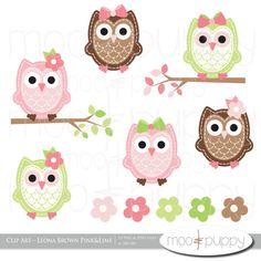 Owl Clip Art - Leona  Brown Pink -- INSTANT DOWNLOAD