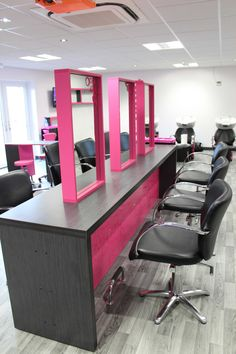 Double sided hair dressing stations designed and manufactured by Starbank Panel Products Ltd