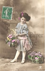 VINTAGE FRENCH postcards   ... -Little-Girl-in-Lavender-Dress-Antique-Vintage-French-Photo-Postcard