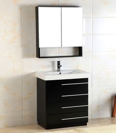 Lovely Dark Wood Bathroom Storage Cabinets