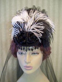 Victorian Mini Riding Hat Steampunk Hat Civil War Hat SASS Hat Downton Abbey Style Hat Halloween Hat