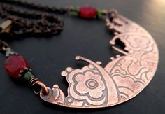 Flower Garden Etched Copper Bib Necklace by Lost Sparrow Jewelry