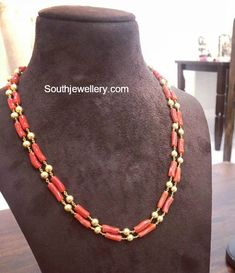 Jewelry OFF! 22 Carat gold two line mala strung with coral beads and gold balls by Parnicaa Jewellery. Pearl Necklace Designs, Jewelry Design Earrings, Coral Jewelry, Gold Jewellery Design, Bead Jewellery, Beaded Jewelry, Quartz Jewelry, Ruby Jewelry, Bridal Jewellery