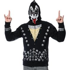 zip up mask hoodies for girls | Volcom Kiss Zip Up Gene Simmons Face Mask Hoodie | Great Gift Ideas