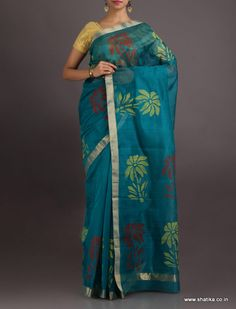 Gunjan Awesome Blossom #ChanderiBlockPrintedSaree