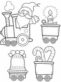printables for a christmas train coloring pages