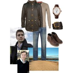 Alexander taking his father on a walk at the beach at Rhosnegir, where he lives whilst stationed at RAF Valley (2007) by immortal-longings on Polyvore featuring Barbour
