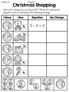Christmas Shopping >> How much change will you have left after purchasing Christmas items >> Part of the Christmas 1st Grade Math Worksheets
