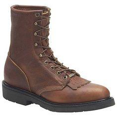 "Double H 8"" Work Lacer Boots (Lite Tobacco) - Men's Boots - 13.0 2E"