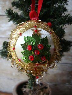 Vintage Ornament White And Gold Silk Spun by HighPointFarm2010
