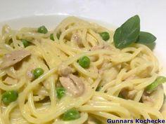 Spaghetti mit Thunfisch-Sahne-Sauce - #Rezept