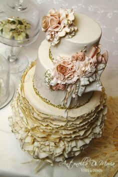 Beautiful wedding cake with ruffles