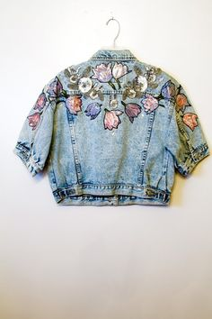 Sequin and embroidered floral cropped denim jacket shirt