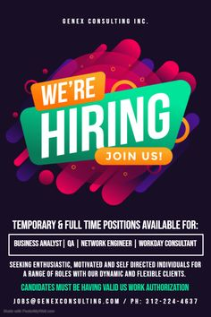 !! Now Hiring !!  We are hiring candidates for our multiple job openings with our client's based across United States.  Below mentioned are our current openings  -   1) Business Analyst 2) Quality Analyst 3) Network Engineer 4) Workday Certified HCM Consultant  Feel free to whats app us on +1-312-224-4637 or email us your resume.    #Genex #staffing #agency #consulting #job #workday #sunnyvale #chicago #network #businessanalyst #quality #QA #remote #jobopening #career #USA #Madison #hiring 3 Network, Network Engineer, We Are Hiring, Business Analyst, Job Opening, Resume, Career, Engineering, Chicago