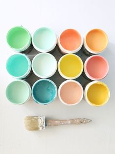 Bright, happy paint color palette: lime, tiffany blue, rose, tangerine, sunny yellow... #painting #design #colorful