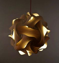 Beautiful Natural Oak Abstract Ball Pendant Light It Was Initially Made Using Paper