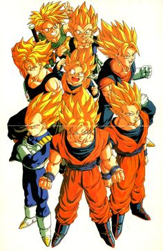 "80s90sdragonballart: "" Foldout poster of nearly every major Super Saiya-jin character by Tadayoshi Yamamuro. """