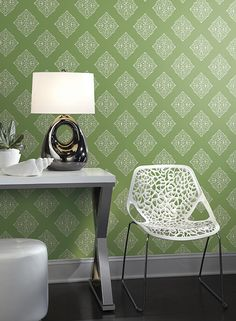 Pattern: Henna Tile from York Ashford Tropics Always visit a local independent design company for the best selection of wallpapers both in stock and books for styles to best fit your taste, needs and looks. www.perspectives-usa.com
