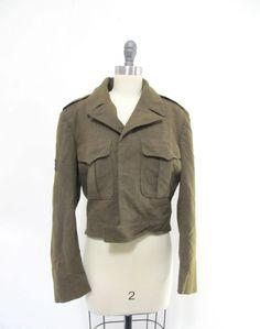 Vintage WWII US Army Wool Military Uniform Officer Coat JACKET 38 Ike Eisenhower