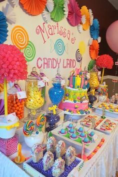 Candy Land Inspired Themed -- A close family friend had contacted me to create a Candy Land inspired candy table for her Sweet 16th Birthday party. She wanted bright, vibrant colors, some touches incorporated from the actual game, and of course, lots and lots of candy!