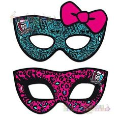 MONSTER HIGH PAPER MASKS (8) ~ Birthday Party Supplies Favors Costumes Mattel