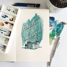 Today I will present a Creative Watercolor Lettering Quotes create by june Digan. This is not a painting or picture, not the mixture of the two along with Calligraphy Letters, Typography Letters, Graphic Design Typography, Lettering Design, Calligraphy Tutorial, Lettering Art, Different Lettering, Types Of Lettering, Watercolor Typography