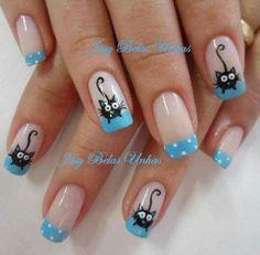 Neko♥ nail designs 2019 nail designs for short nails 2019 nail art stickers online nail art stickers at home nail art strips Animal Nail Designs, Gel Nail Designs, Cute Nail Designs, Cat Nail Art, Animal Nail Art, Pretty Nail Colors, Pretty Nails, Fancy Nails, Cute Nails