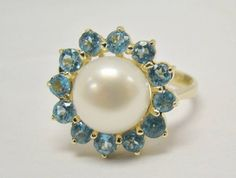 14K YELLOW GOLD RING LARGE 9.1MM CULTURED BUTTON PEARL & BLUE TOPAZ 4g SIZE 7 #SolitairewithAccents