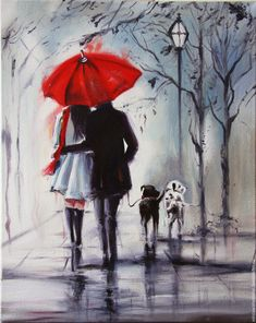 Love under an umbrella, from a painting by Australian artist Helen Cottle. Art And Illustration, Art Amour, Rain Painting, Couple Painting, Knife Painting, Love Painting, Umbrella Art, Inspiration Art, Beautiful Paintings