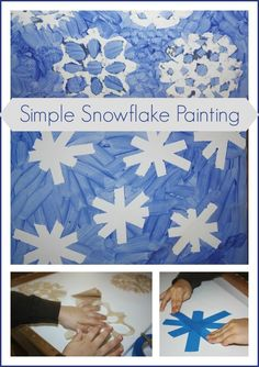 Snowflake Painting Tape Resist Stencil Activity (from Little Bins for Little Hands)