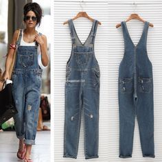 Women Washed Jeans Denim Casual Hole Loose Jumpsuit Romper Overall Pants Bib