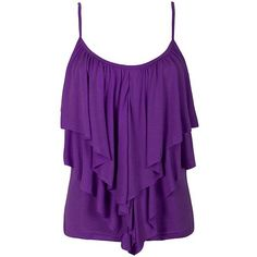 FRILL FRONT SINGLET ($12) ❤ liked on Polyvore featuring tops, shirts, tank tops, tanks, ruffle front top, shirt tops, purple tank, purple top and purple shirt