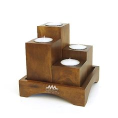 Blocks and holder - Woodworking Wood Tea Light Holder, Modern Candle Holders, Wood Candle Holders, Wood Projects That Sell, Scrap Wood Projects, Woodworking Projects, Woodworking Shop, Wooden Lamp, Tabletop
