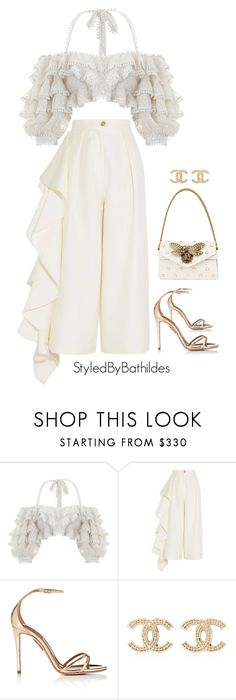 """The all white party"" by styledbybathildes ❤ liked on Polyvore featuring Zimmermann, Solace, Aquazzura, Chanel and Gucci"