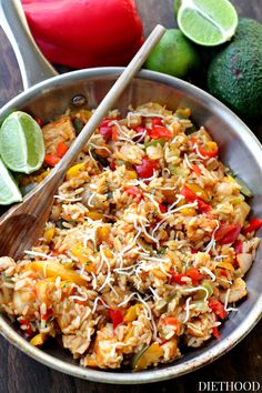 Ranch-Chicken Fajita Bowls - Strips of chicken, peppers and onions tossed with ranch dressing and served atop a bed of rice.