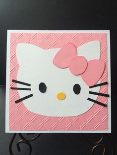 Darling birthday card for a little girl, featuring her favorite pink hello kitty theme.