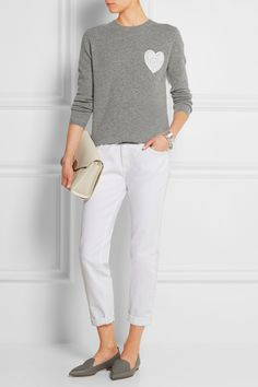 CHINTI AND PARKER Cashmere and broderie anglaise cotton sweater CURRENT/ELLIOTT The Fling mid-rise boyfriend jeans NICHOLAS KIRKWOOD Metallic textured-leather point-toe flats 3.1 PHILLIP LIM The Pashli Mini Messenger textured-leather shoulder bag